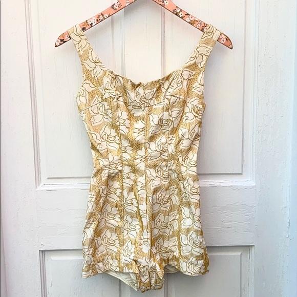 Jantzen Other - VTG JANTZEN 1950's Gold Floral One Piece Swimsuit
